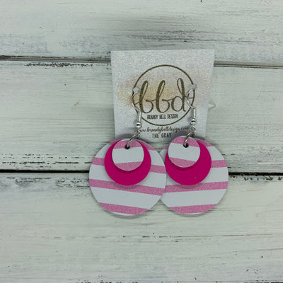 GRAY - Leather Earrings  ||    <BR> PINK & WHITE STRIPES, <BR> MATTE NEON PINK,  <BR> PINK & WHITE STRIPES