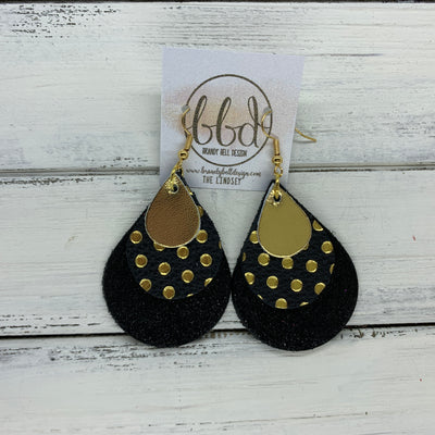 LINDSEY - Leather Earrings  ||   <BR>  METALLIC GOLD SMOOTH, <BR> METALLIC GOLD POLKADOTS ON BLACK,  <BR> BLACK GLOSS DOTS
