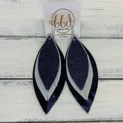 INDIA - Leather Earrings   ||  <BR>  METALLIC NAVY PEBBLED,  <BR> SHIMMER SILVER,  <BR> METALLIC NAVY SMOOTH