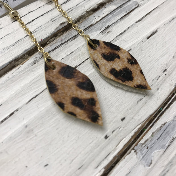 LUCY -  Leather Earrings  ||    DOUBLE SIDED- CHEETAH/LEOPARD PRINT, METALLIC CHAMPAGNE