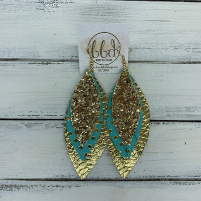 INDIA - Leather Earrings   ||  <BR>  GOLD GLITTER (FAUX LEATHER),  <BR> AQUA WITH GOLD POLKADOTS,  <BR> METALLIC GOLD BRAIDED