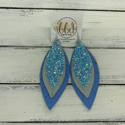 INDIA - Leather Earrings   ||  <BR>  ICE GLITTER (FAUX LEATHER),  <BR> SHIMMER SILVER,  <BR> MATTE CAROLINA BLUE