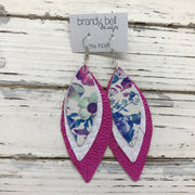 INDIA - Leather Earrings  ||  PURPLE/BLUE FLORAL ON WHITE, MATTE WHITE BASKET WEAVE, METALLIC HOT PINK