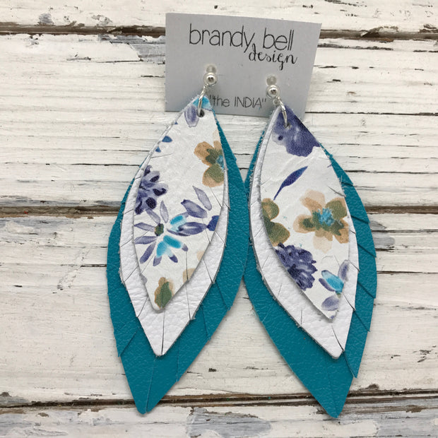 INDIA - Leather Earrings  ||  MINI FLORAL, MATTE WHITE, MATTE TEAL