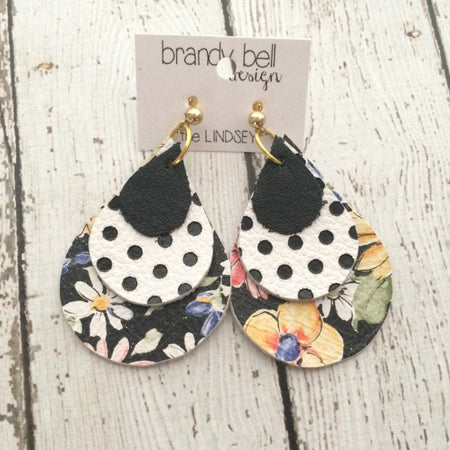 LINDSEY - Leather Earrings  || MATTE BLACK, WHITE WITH BLACK POLKA DOTS, FLORAL WITH VLACK BACKGROUND