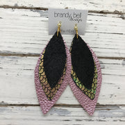 INDIA - Leather Earrings  ||  SHIMMER BLACK, METALLIC MERMAID GREEN/PINK/GOLD, METALLIC LIGHT PINK TEXTURE
