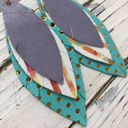 INDIA - Leather Earrings  ||  MATTE LAVENDER, WHITE WITH WATERCOLOR STRIPE, MATTE ROBINS EGG BLUE WITH METALLIC GOLD POLKA DOTS