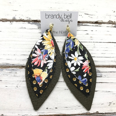 INDIA - Leather Earrings  ||  FLORAL ON BLACK BACKGROUND, BLACK WITH METALLIC GOLD POLKADOTS, DARK OLIVE GREEN