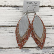 INDIA - Leather Earrings  ||  SHIMMER SILVER, METALLIC ROSE GOLD, ORANGE STINGRAY