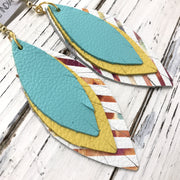 INDIA - Leather Earrings  ||  MATTE ROBINS EGG BLUE, MATTE SUNSHINE YELLOW, WHITE WITH WATERCOLOR STRIPES