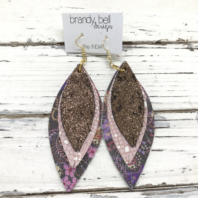 INDIA - Leather Earrings  ||  METALLIC SHIMMER COPPER, PINK/WHITE, PINK/PURPLE FLORAL ON BROWN