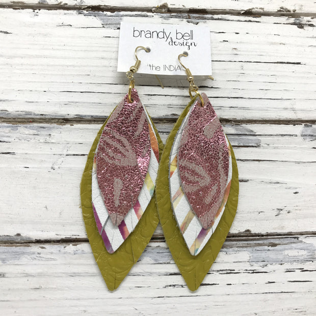 INDIA - Leather Earrings  ||  METALLIC PINK FLORAL, WHITE WITH WATERCOLOR STRIPES, DARK YELLOW EMBOSSED FLORAL