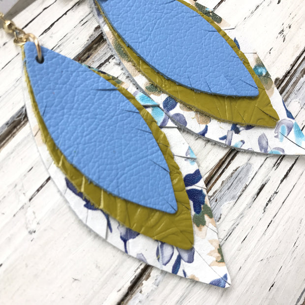 INDIA - Leather Earrings  ||  MATTE CAROLINA BLUE, DARK YELLOW WITH EMBOSSED FLORAL, MINI BLUE FLORAL ON WHITE