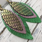 INDIA - Leather Earrings  ||  METALLIC MERMAID PINK/GREEN/GOLD, METALLIC LIGHT PINK, METALLIC BRIGHT GREEN