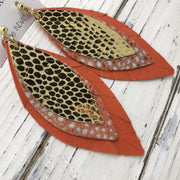 INDIA - Leather Earrings  ||  METALLIC GOLD SCALES, ORANGE STINGRAY, MATTE BRIGHT ORANGE