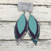 INDIA - Leather Earrings  ||  MATTE ROBINS EGGS BLUE, METALLIC PURPLE TEXTURE, PURPLE/GREEN FLORAL