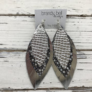 INDIA - Leather Earrings  ||  METALLIC SILVER COBRA, BLACK/BROWN STINGRAY, METALLIC SILVER