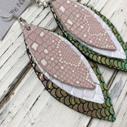 INDIA - Leather Earrings  ||  MATTE PINK/WHITE, MATTE WHITE BASKET WEAVE, METALLIC MERMAID PINK/GREEN/GOLD