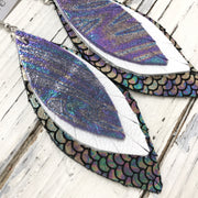 INDIA - Leather Earrings  ||  METALLIC IRIDESCENT SWIRL, MATTE WHITE, METALLIC MERMAID BLUE/GREEN/PURPLE