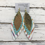 INDIA - Leather Earrings  ||  METALLIC GOLD SCALES, MATTE AQUA WITH METALLIC GOLD POLKADOTS, WHITE WITH WATERCOLOR STRIPES
