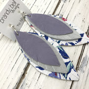INDIA - Leather Earrings  ||  MATTE LAVENDER, SHIMMER SILVER, COBALT BLUE FLORAL ON WHITE