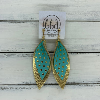 ALLIE -  Leather Earrings  ||  <BR> AQUA WITH METALLIC GOLD POLKADOTS, <BR> METALLIC GOLD PEBBLED