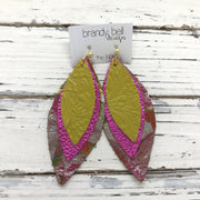 INDIA - Leather Earrings  ||  YELLOW EMBOSSED FLORAL, METALLIC HOT PINK, METALLIC TROPICAL FLORAL