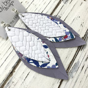 INDIA - Leather Earrings  ||  WHITE BASKET WEAVE, COBALT FLORAL ON WHITE, MATTE LAVENDER