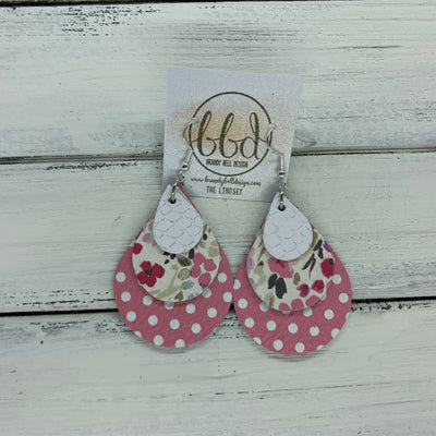 LINDSEY - Leather Earrings  ||   <BR>  MATTE WHITE COBRA, <BR> MINI PINK FLORAL ON WHITE,  <BR> PINK & WHITE POLKADOTS