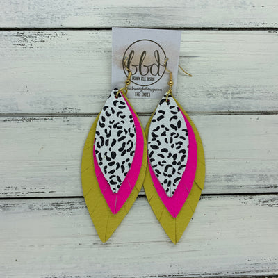 INDIA - Leather Earrings   ||  <BR>  BLACK & WHITE CHEETAH PRINT,  <BR> MATTE NEON PINK,  <BR> MATTE YELLOW
