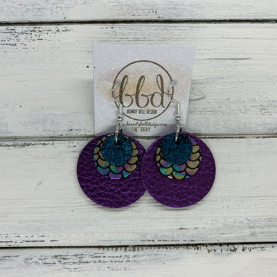 GRAY - Leather Earrings  ||    <BR>SHIMMER TEAL, <BR> METALLIC ANTIQUE MERMAID,  <BR> METALLIC PURPLE PEBBLED