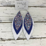 INDIA - Leather Earrings   ||  <BR>  AMERICANA GLITTER (NOT REAL LEATHER) <BR> MATTE COBALT BLUE <BR>  MATTE WHITE