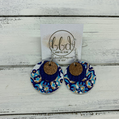 GRAY - Leather Earrings  ||    <BR>SHIMMER COPPER ON TOAST, <BR> MATTE COBALT PALM LEAVES,  <BR> MOROCCAN TILE