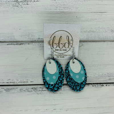 DIANE - Leather Earrings  ||    <BR> FINE WHITE GLITTER (FAUX LEATHER) , <BR> AQUA WITH WHITE POLKADOTS, <BR> AQUA BISON
