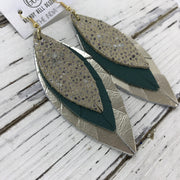 INDIA - Leather Earrings  ||   IVORY STINGRAY, MATTE SPRUCE GREEN, METALLIC CHAMPAGNE SMOOTH