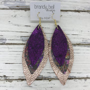 INDIA - Leather Earrings  ||   SHIMMER FUCHSIA, PURPLE & PINK FLORAL ON BROWN, METALLIC ROSE GOLD PEBBLED