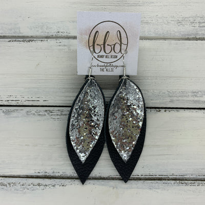 ALLIE -  Leather Earrings  ||  <BR> SILVER GLITTER (FAUX LEATHER), <BR> MATTE BLACK