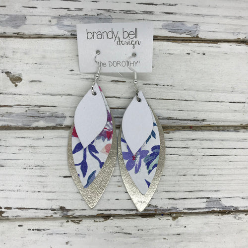 DOROTHY - Leather Earrings  ||  MATTE WHITE, BLUE FLORAL ON WHITE, METALLIC CHAMPAGNE SMOOTH