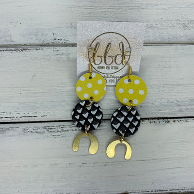 SUEDE + STEEL *Limited Edition* COLLECTION || <BR> YELLOW & WHITE POLKADOTS, <BR> BLACK & WHITE MERMAID SCALES, <BR> GOLD BRASS U-SHAPE