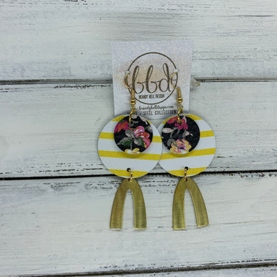 SUEDE + STEEL *Limited Edition* COLLECTION || <BR> PINK FLORAL ON BLACK, <BR> YELLOW & WHITE STRIPES, <BR> GOLD V-SHAPED BRASS