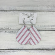 ZOEY (3 sizes available!) -  Leather Earrings  || PINK & WHITE STRIPE