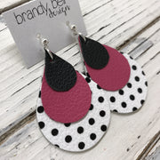 LINDSEY - Leather Earrings  || MATTE  BLACK, MATTE PINK, WHITE WITH BLACK POLKADOTS