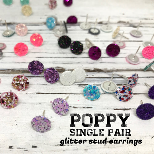 Poppy- SINGLE PAIR - Glitter Stud Earrings