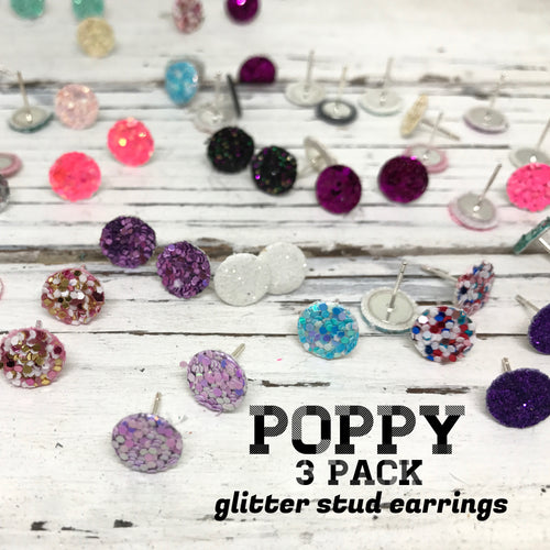 Poppy- 3 PACK (Choose your colors) - Glitter Stud Earrings