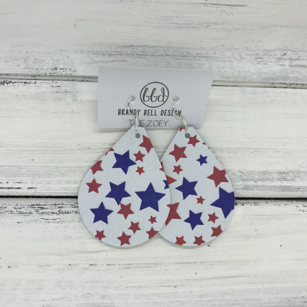 ZOEY (3 sizes available!) - Leather Earrings  || <BR> RED & BLUE STARS PRINT