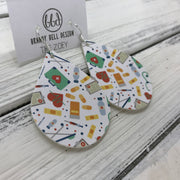 ZOEY (3 sizes available!) - FAUX Leather Earrings (Not real leather) WITH FELT BACK  || <BR> NURSE PRINT