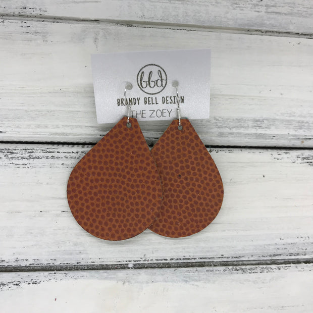 ZOEY (3 sizes available!) - Leather Earrings  || <BR> BASKETBALL TEXTURE (VERY THICK)