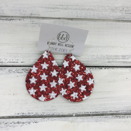 miniZOEY + ZOEY -  GLITTER ON CANVAS Earrings  (not leather)  ||  <BR> RED WITH STARS