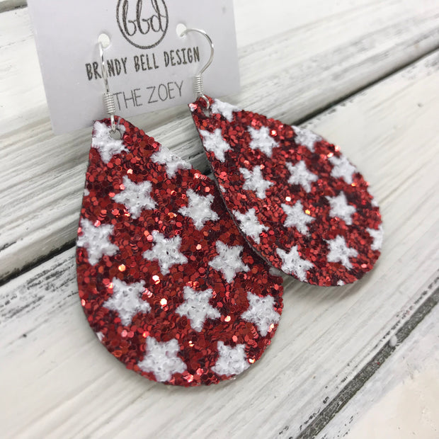 ZOEY (3 sizes available!) -  GLITTER ON CANVAS Earrings  (not leather)  ||  <BR> RED WITH STARS
