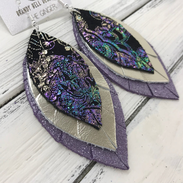 GINGER - Leather Earrings  ||  <BR>IRIDESCENT PAISLEY <BR> METALLIC CHAMPAGNE SMOOTH <BR> SHIMMER LAVENDER